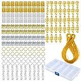 GCOA 160 Pièces Bijoux de cheveux Bagues en aluminium Accessoires cheveux Bagues et poignets Décorations Pendentifs avec cordon métallique,Apportez un paquet de fil d'or