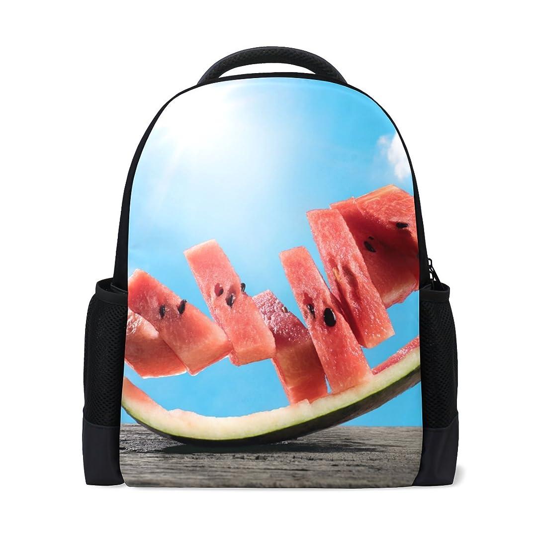 意欲囲まれたスタッフAOMOKI リュックサック バッグ 男女兼用 メンズ レディース 通勤 通学 大容量 スイカ 夏 空 ブルー 赤