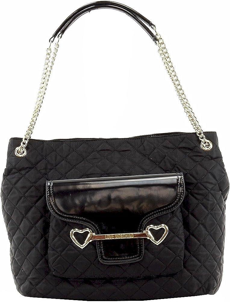 Love Moschino Women's Large Black Quilted Fabric Satchel Handbag