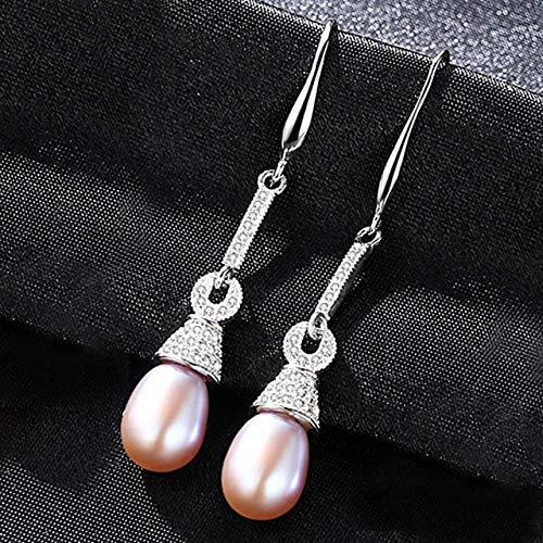 DJMJHG Pendientes Largos de Plata de Ley 925 para Mujer, Pendientes geométricos de Perlas de circonita cúbica AAA, joyería, Regalos,púrpura