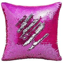 Silver-Fuchsia Flip Sequin Pillow Cover Throw