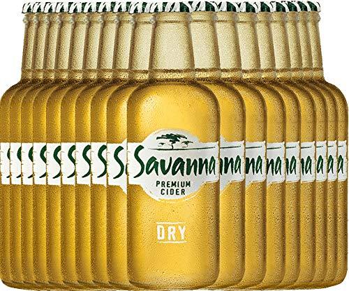 VINELLO 18er Cider-Paket - Savanna Premium Dry Cider mit einem VINELLO.weinausgießer   südafrikanischer Cidre   perfekt für den Sommer   18 x 0,33 Liter