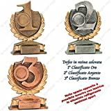 tecnocoppe Tris trofei premiazioni–1° 2° y 3° categorizado–H 13,00cm placa...