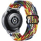 Vecann Correa trenzada Nailon compatible con Galaxy Watch Active 2 40mm 44mm, 20mm Correa de deportiva elástica ajustable para Galaxy Watch 3 41mm/Galaxy Watch 42mm/Active 40mm/Gear Sport/S2 Classic