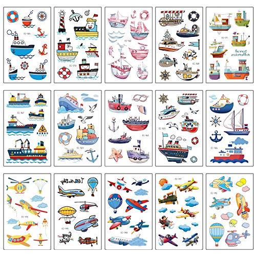 SZSMART Dampfer Tattoos Set, Hubschrauber Temporäre Tattoos Kinder Aufkleber Sticker für Mädchen Junge Kindergeburtstag Mitgebsel Schiff Party Über 100 Tattoos