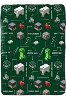 Jay Franco Minecraft Survive Blanket - Measures 60 x 90 inches, Kids Bedding - Fade Resistant Super Soft Fleece (Official Minecraft Product)
