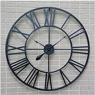 ZJZBZ Vintage Reloj de Pared 80 cm Negro Redondo Estilo Europeo Roma decoración Reloj Sala de Estar de Gran tamaño Mute Iron Art Retro Reloj de Pared