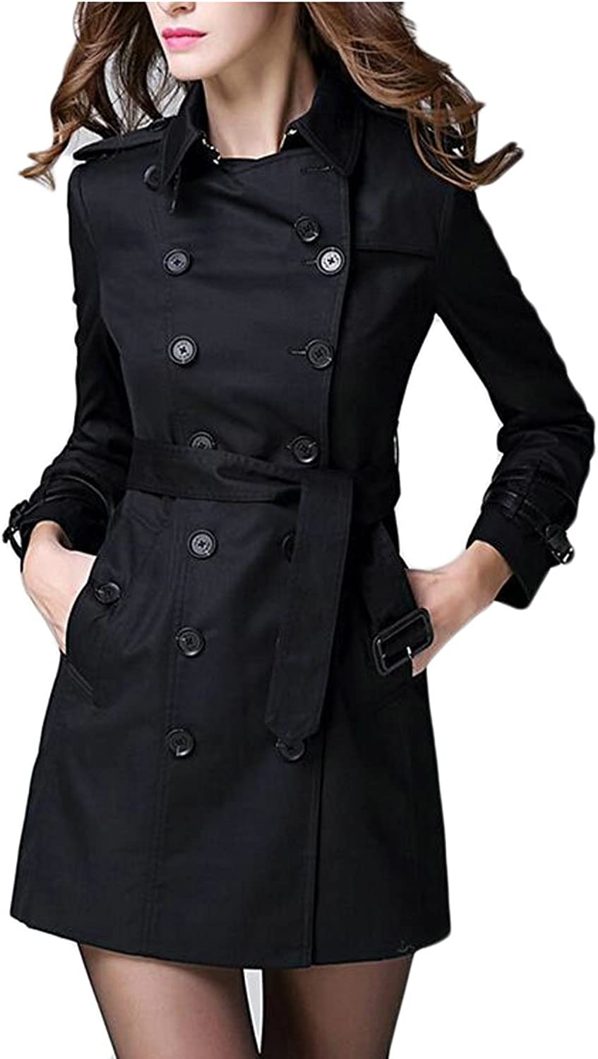 GAGA Women's Autumn Lapel Cotton Double Breasted Elegant Trench Coat With Belt