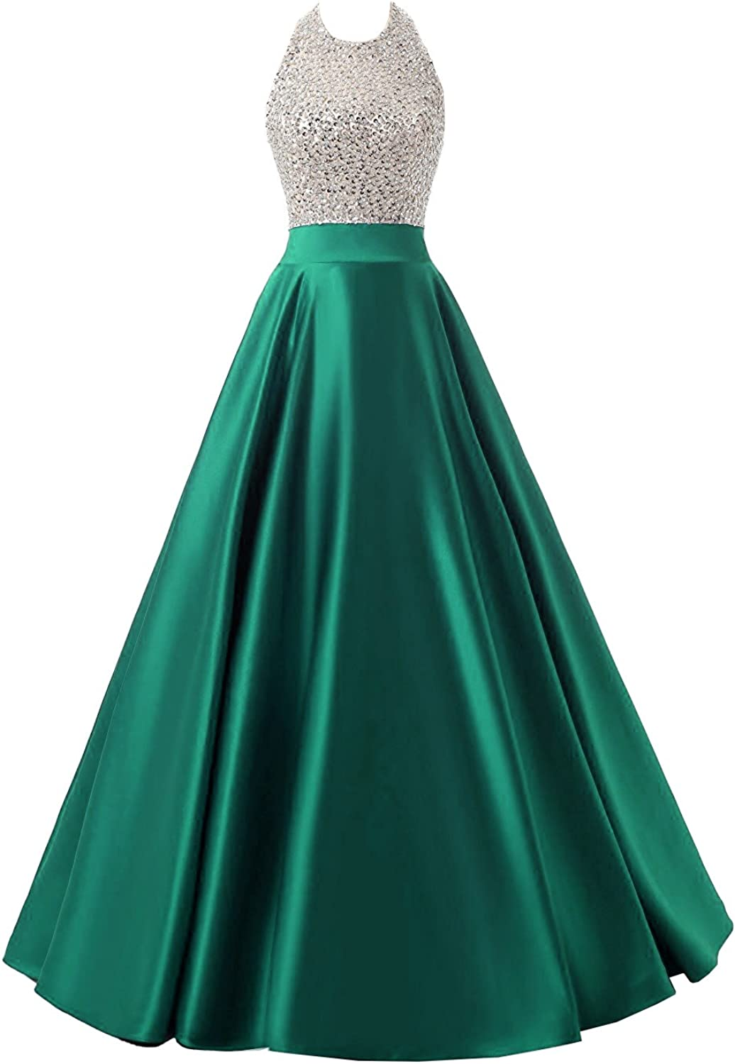 Mypuffgirl Women's Halter Sleeveless Satin A Line Formal Prom Gown with Beaded Bodice