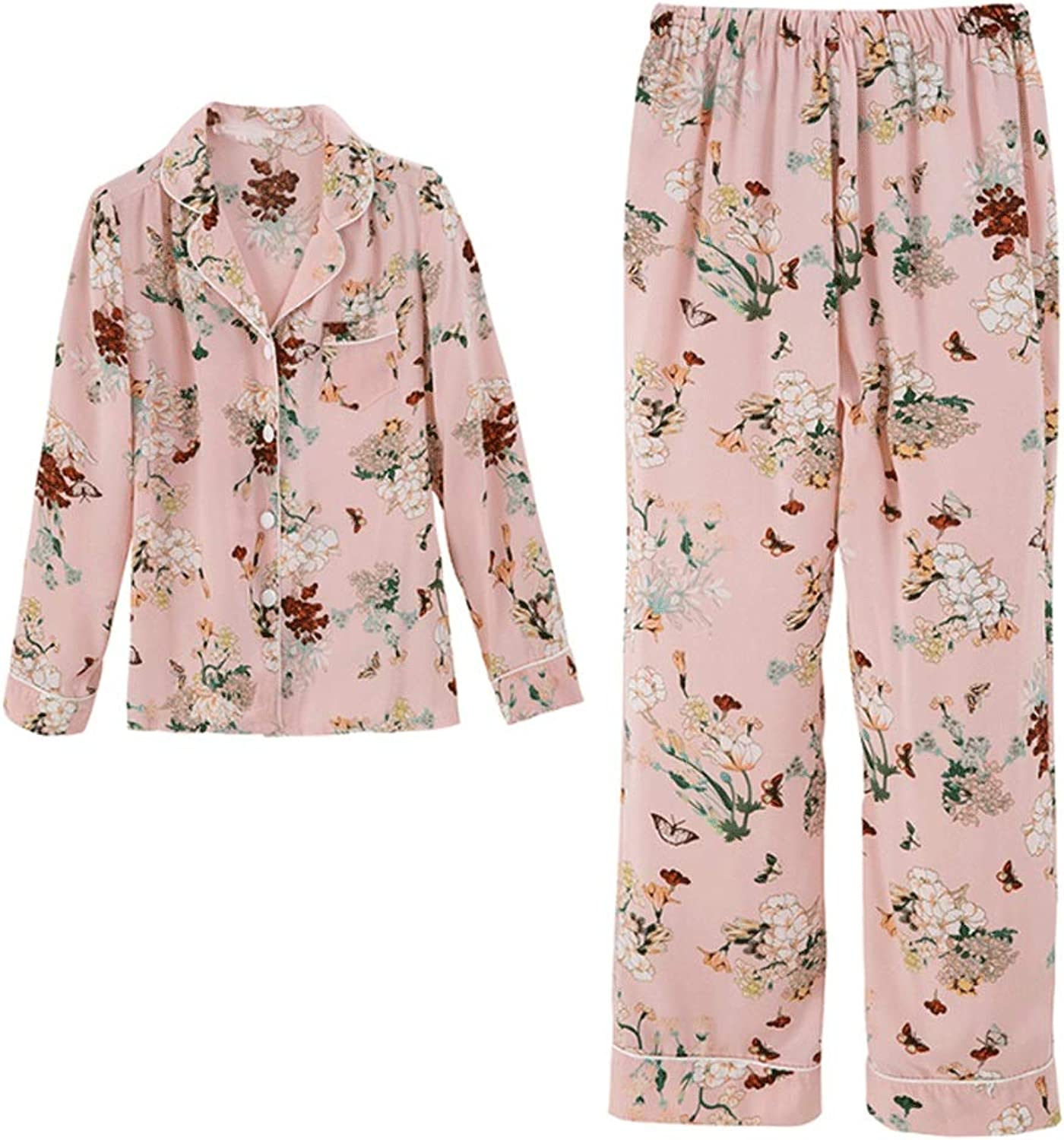 Women's Pajamas Retro Satin TwoPiece Silk Can Be Worn Outside Japanese LongSleeved Pajamas Home Service (color   Pink, Size   M)