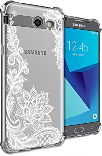 Girly Case for Samsung Galaxy J7 Perx, J7 Prime, J7 Sky Pro, J7 V, Galaxy J7 2017 Clear with Lace Flowers Design Shockproo...