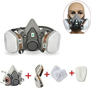 M.A.K 7in1 Half Face Respirator Gas Mask/Dust Mask with Filter Cartridges & Filter Cotton Fit for Adults