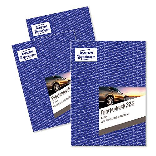 AVERY Zweckform 223-3 Fahrtenbuch (für PKW, vom Finanzamt anerkannt, A5, 80 Seiten insgesamt 858 Fahrten, für Deutschland und Österreich zur Abgrenzung privater/geschäftlicher Fahrten) 3er-Pack