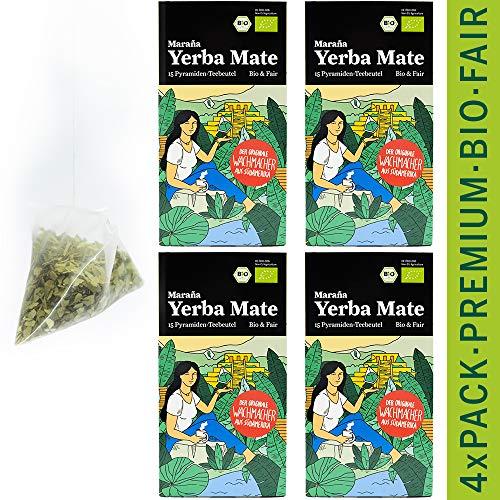 Maraña® Yerba Mate Tee Beutel Bio ● 60 x Premium Mate Teebeutel ● Grüne Teeblätter ● Matetee Erva Mate Grüner Tee Beutel