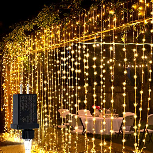 Curtain String Light, 300 LED 9.8ft X 9.8ft Fairy String Light with Mode Controller Waterproof 8 Modes for Home Garden Patio Wedding Party Bedroom Indoor Outdoor Wall Decorations (Warm White)