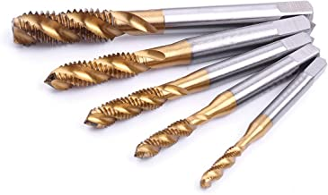 Atoplee 5pcs M3 M4 M5 M6 M8 Titanium Coated HSS Spiral Flute Metric Machine Tap Set [5 Sizes]