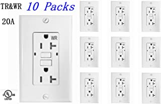 BYBON 20 AMP (10 PACK) Duplex Self-Test Tamper Resistant & Weather Resistant (TR/WR) GFCI Receptacle Outlet,Two LED Light Indicator,Wallplate and screws included,White,UL 2015 (10 PACK)