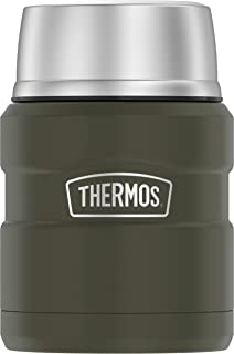 THERMOS Stainless King SK3000 Vacuum-Insulated Food Jar with Spoon, 16 Ounce, Matte Green