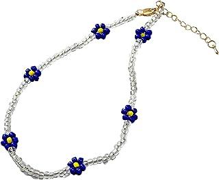 Handmade Bohemian Rainbow Colorful Beads Link Chain Flower Shape Adjustable Necklace Choker Friendship Birthday Festival S...