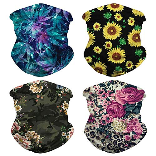 4PCS Unisex Green Leaf Leopard Floral Bandanas Boho Rave Sports Casual Headwear Multifunctional Seamless Neck Gaiter Scarf Sun UV Protection Tube Head Wrap Women Men Balaclava for Dust, Outdoor #A
