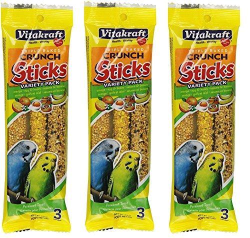 VitaKraft Kracker Crunch Treat Sticks Variety Pack for Parakeets - 3 PACK