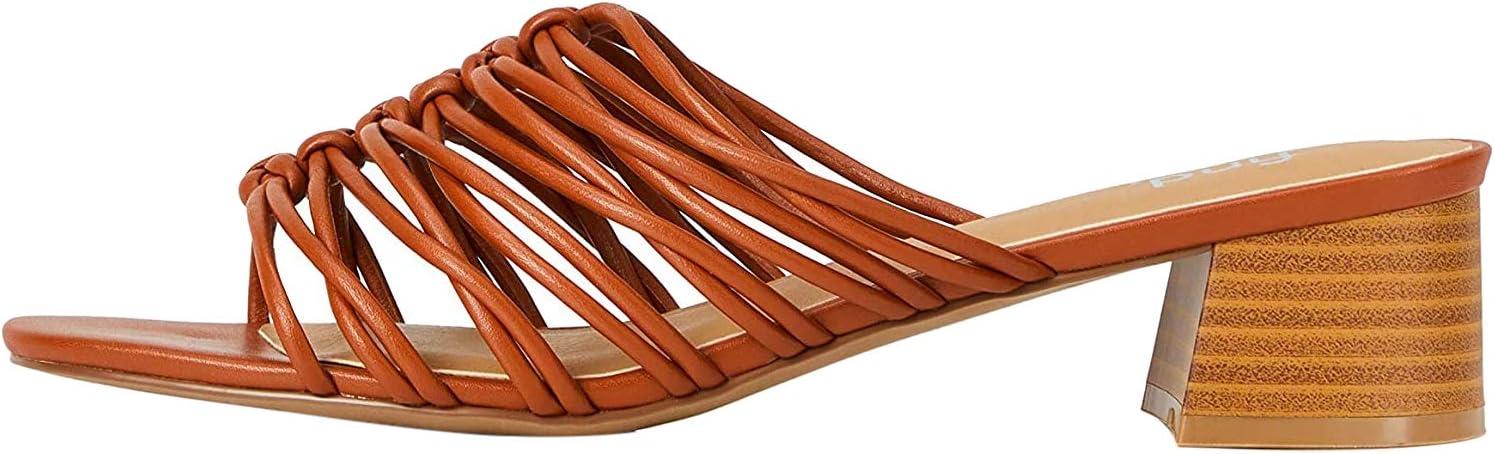 Marca Amazon - find. Weave Block Heel Mule - Sandalias con punta abierta Mujer