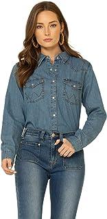 Wrangler Women's Western Long Sleeve Denim Snap Shirt Shirt