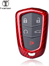 Carbon Fiber Key Fob Cover For Cadillac Key Fob Remote Key, Fits Cadillac ATS-L CT6 CTS XT5 XTS SRX ESCALADE Smart Keyless Car Key, Light Weight Glossy Key Fob Protection Case - Red - Shield Logo