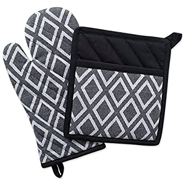 DII Cotton Heat Resistant Kitchen Pot Holder and Oven Mitt Set Farmhouse Chic Geometric Design, Machine Washable for Every Home, (Potholder 8x8.5, Ovenmitt 6.5x12), Diamond