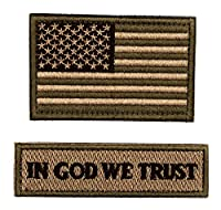 タクティカルパッチ アメリカ国旗 & in God We Trust フックとループ付き バックパック キャップ 帽子 ジャケット パンツ ミリタリー 陸軍 ユニフォーム エンブレム