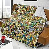 The Simp-sons Comics Characters Poster Gemischte Überwurfdecke, warmes Plüsch, groß, solide Lammwolle, Bettdecke, Tagesdecke, passend für Couch, Heimdekoration, Sofa, 127 x 101,6 cm
