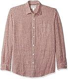 Amazon Essentials - Camisa regular de lino a cuadros con manga larga para hombre, Rojo (Red Gingham), US M (EU M)