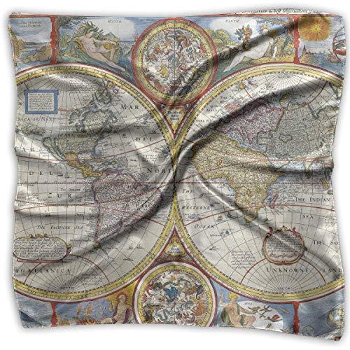 not applicable Mujeres Moda Cuadrado Suave Vintage Geografía Mapa del mundo Pañuelo...