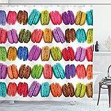 QDAS 60X72inch Duschvorhang Französisch Macarons in Einer Reihe Coffee Shop Kekse Aromen Gebäck Bäckerei Food Design Stoff Stoff Bad Dekor Dekor mit Haken Mehrfarbig