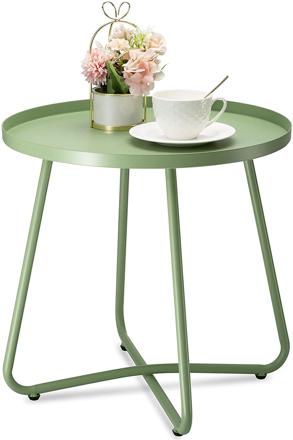 danpinera Outdoor Side Tables, Weather Resistant Steel Patio Side Table, Small Round Outdoor End Table Metal Side Table for Patio Yard Balcony Garden Bedside Green