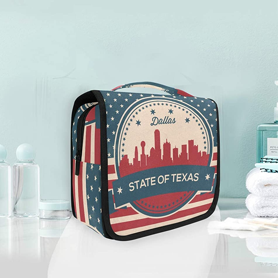 Texas State Dallas Skyline Large Hanging Toiletry Bag Waterproof Cosmetic Bag Makeup Travel Pouch Purse Organizer Wash Gargle bag