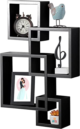 Furniture Cafe® Intersecting Floating Wall Mounted Shelf   Storage Shelves   Kitchen Shelves   Wall Decoration for Li...