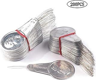 Guanici Nadelein fädler Metall Einfädler Einfädelhilfe Nadelein fädler Einfädelhilfe für Nadeln Einfädler für Nähmaschine Einfädelvorrichtung für Nähmaschinen Kreuzstich DIY Nähen 200 Stück Silber