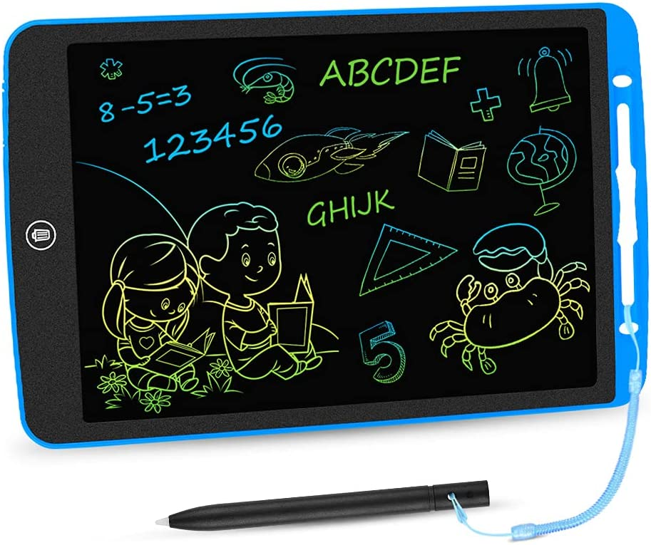 LCD Writing Tablet 12 Inch Toddler Doodle Board, Colorful Drawing Tablet, Erasable Electronic Painting Pads, Educational and Learning Kids Toy for 2 3 4 5 6 Year Old Boys and Girls Gifts(Dark Blue)