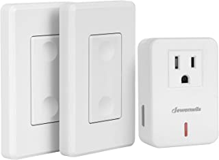 DEWENWILS Wireless Remote Wall Switch and Outlet, Plug in Remote Control Light Switch, No Wiring, Expandable, 100ft RF Ran...