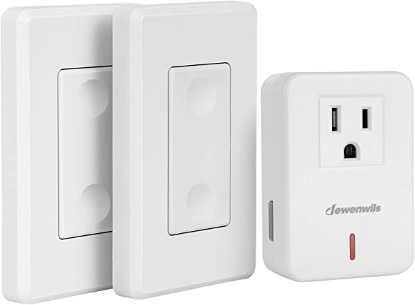 DEWENWILS Wireless Remote Wall Switch And Outlet Plug In Remote Control Light Switch No Wiring Expandable 100 Ft RF Range ETL Listed 2 Switches And 1 Receiver