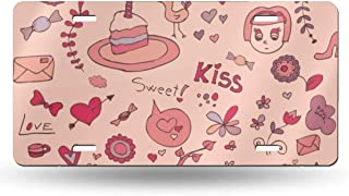American License Plate,Aluminum Metal License Name Sweet Love and Cake Decorated Front License Plate, 6x12 Inch Metal License Plate for Women Girls Men Boys.
