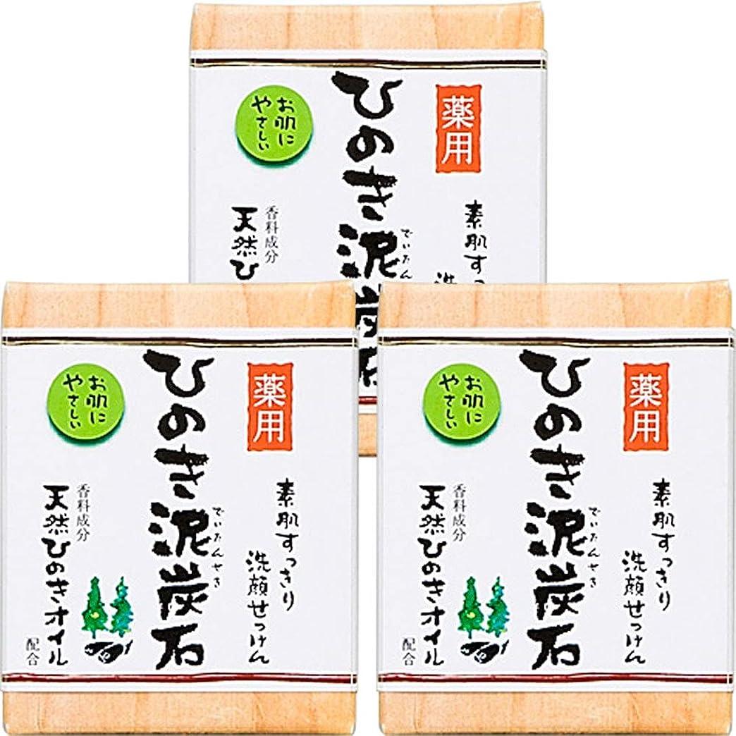 漏れ余分なかわいらしい薬用 ひのき泥炭石 (75g×3個) 洗顔 石けん [天然ひのきオイル配合] 肌荒れ防止