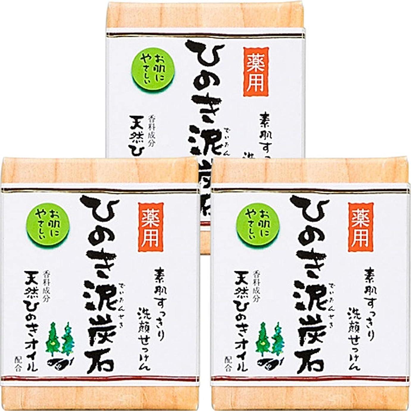 ドライコンクリート過ち薬用 ひのき泥炭石 (75g×3個) 洗顔 石けん [天然ひのきオイル配合] 肌荒れ防止