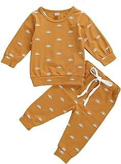 Geagodelia 2 Pezzi Completo Neonata Neonato Giallo Maglietta da Piccolo Sole a Maniche Lunghe +Pantaloni Abiti Autunnali S...