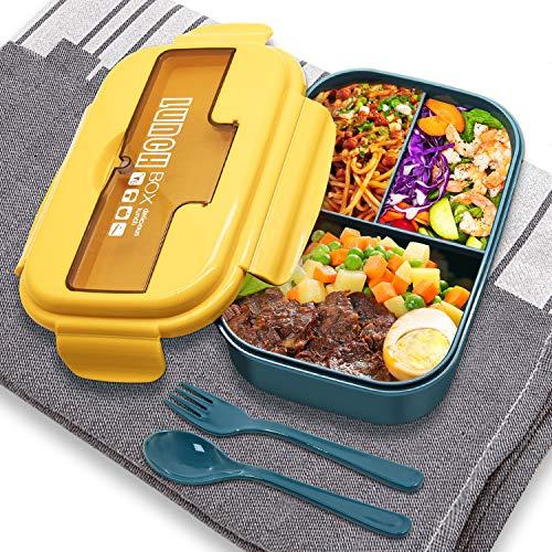 SYOSIN Bento Box, Lunchbox Kinder mit 3 Fächern und Besteck, Auslaufsichere Brotzeitbox, Vesperdose Geeignet für Mikrowellen und Spülmaschinen, Schule Arbeit Picknick Reisen