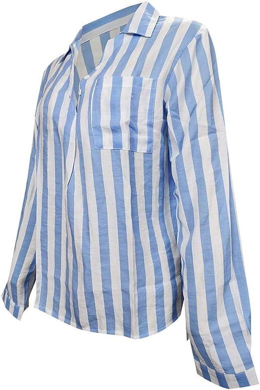 JiaMeng Básica Camiseta de Manga Larga Elegantes Blusa de ...