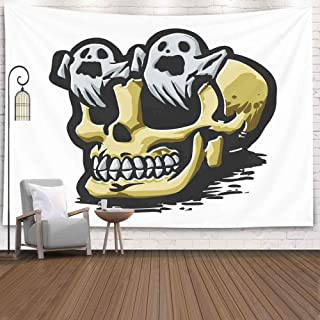 Capsceoll Halloween Christmas Thanksgiving Day Fall Wall Tapestry, 80X60 Inches with Ghosts Coming Out of The Eyes Illustration Wall Hanging Tapestry for Décor Dorm Tapestry Living Home