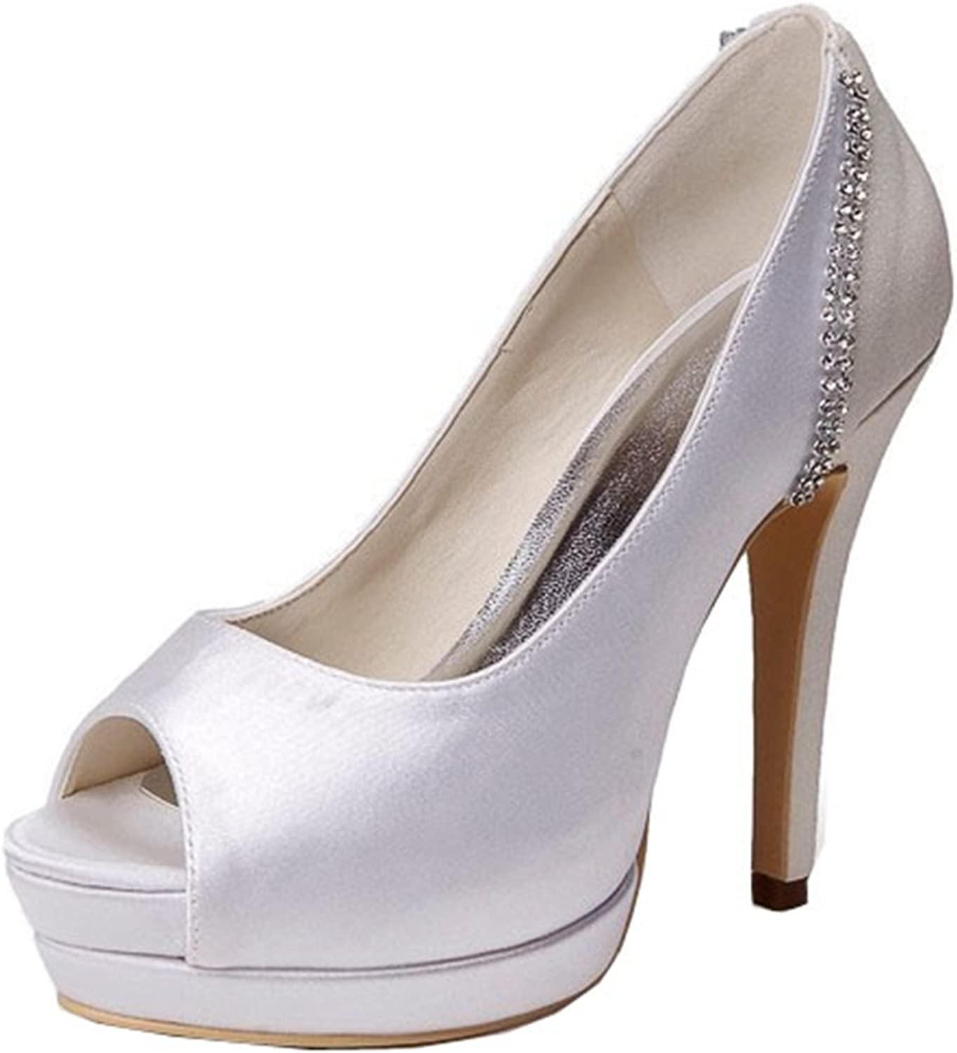 Minishion GYMZ660 Womens High Heel Satin Evening Party Bridal Wedding Chain shoes