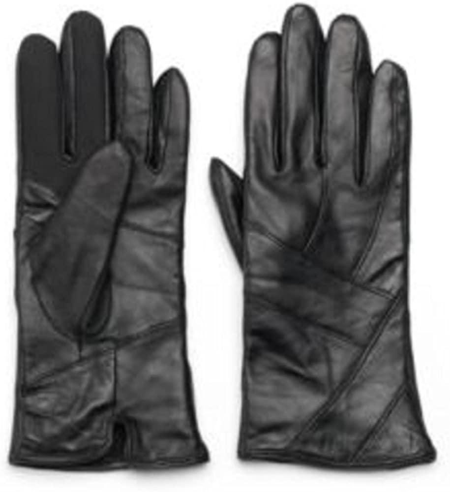 Igloos Black Leather Gloves 3M Thinsulate Womens M/L - Vertical Leather Design